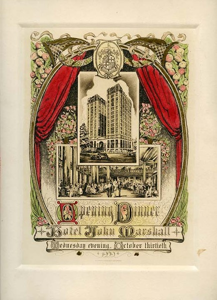 The program cover of the John Marshall's opening dinner, Oct. 30, 1929, features illustrations of the 16-story hotel and its main lobby. - VALENTINE RICHMOND HISTORY CENTER