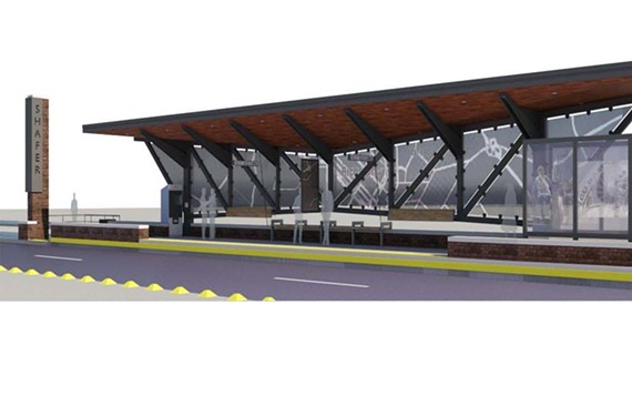 The Pulse will stop at 14 stations along the line, where passengers will buy tickets before boarding to speed up the loading process. This rendering from GRTC shows what a station would look like, including a raised platform that allows easier access for boarding. - GRTC