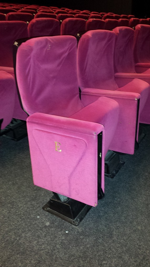 The seats in question, which appear more burgundy than in this photo, were from the Grand Théâtre Lumière, the main theater for the Cannes Film Festival.