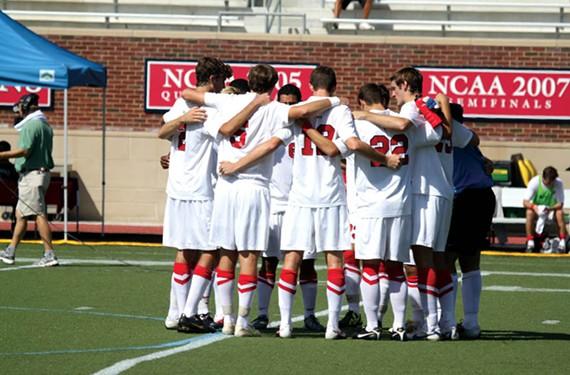 The University of Richmond men's soccer team prepares to play a game against St. Joseph's University in October 2011. - ANDREW PREZIOSO