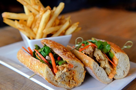 The Urban Tavern's po' mi sandwich, a cross between a Vietnamese banh mi and an oyster po' boy is composed of fried Virginia oysters, traditional banh mi toppings and a spicy remoulade.