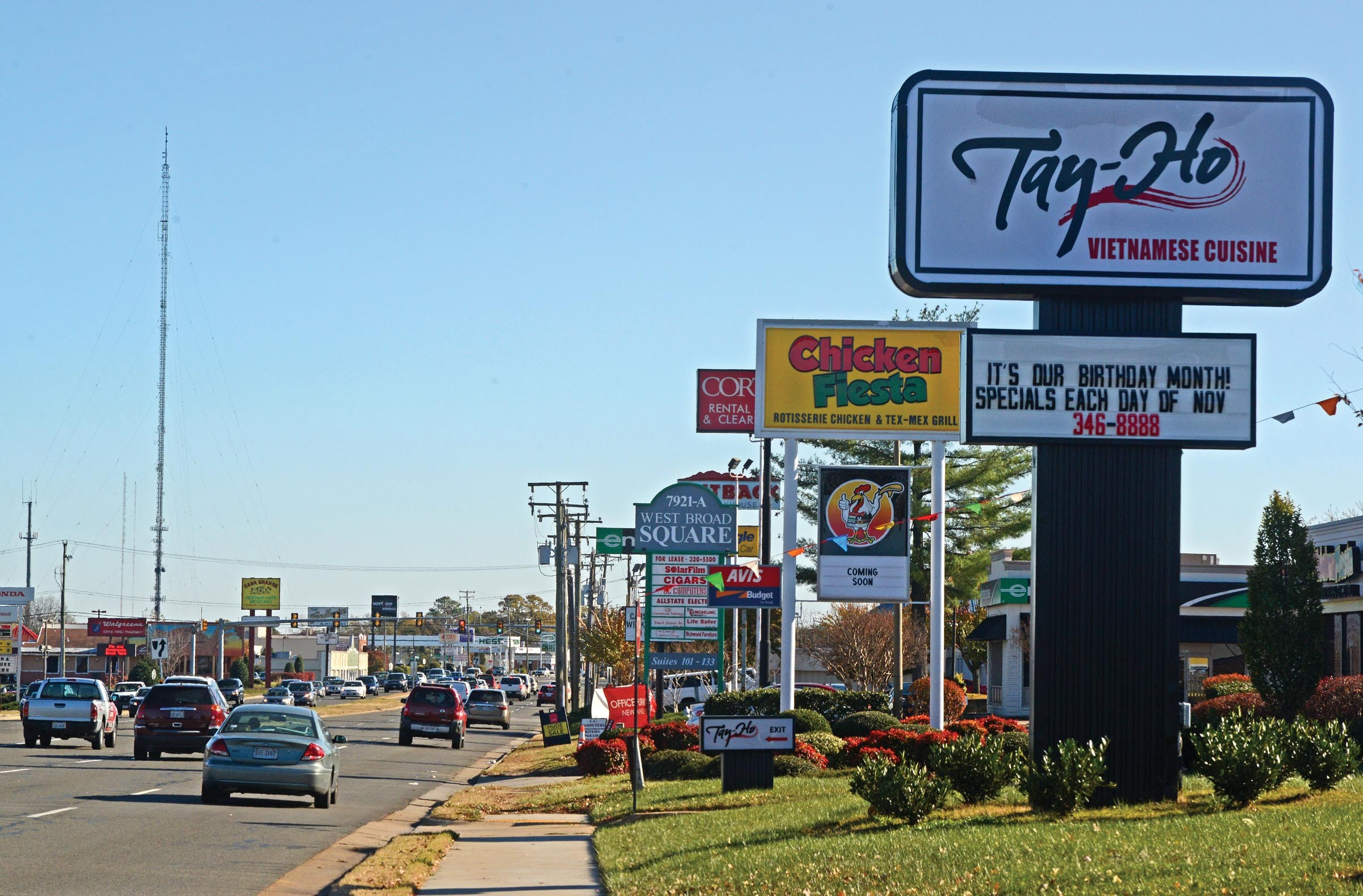 The western part of the county bustles with retail, such as this stretch along West Broad Street near Hungary Spring Road. Diners at county restaurants also will face a newly passed meals tax. - SCOTT ELMQUIST