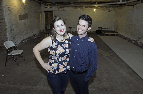 "TheatreLab co-founders Annie Colpitts and Deejay Gray in their new Broad Street performance space, which opens Oct. 24 with ""Hedwig and the Angry Inch"" starring Matt Shofner."