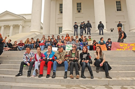 Thirty protesters refused to leave the steps of the Capitol and were arrested and detained for hours March 3. The incident, some political observers say, re-energized the base of the Democratic Party, and helped Obama get re-elected. - SCOTT ELMQUIST