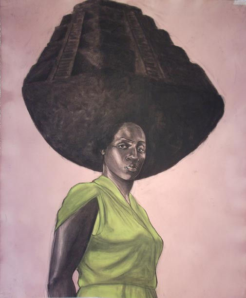 """This charcoal work, """"Steeped"""" (2011) by the artist Robert Pruitt is just one example of the African-American art that has been collected in earnest by VMFA since the '90s."""