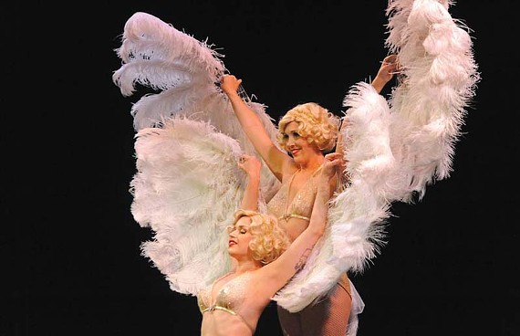 "This feather-fan performance by burlesque performers Deepa De Jour and Dolli Holiday was inspired by the ""Imperial Pelican Easter Egg."" - SCOTT ELMQUIST"