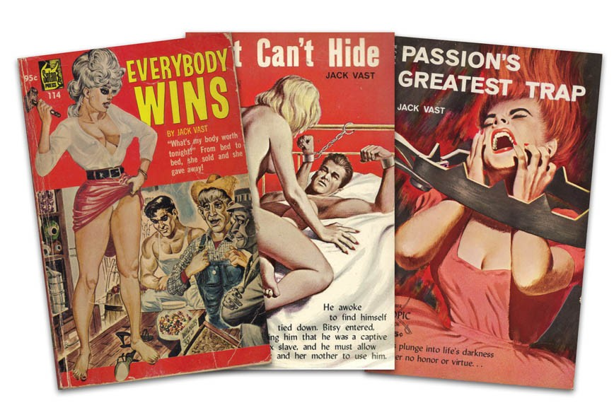 Three adult books written by Rik Davis under the pseudonym Jack Vast, 1965-66.