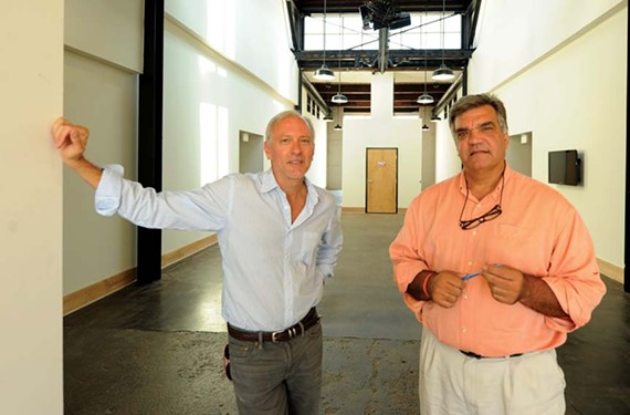 Tom Papa and Rick Gregory at the New Manchester Flats, one of their apartment projects in the former industrial neighborhood. - SCOTT ELMQUIST