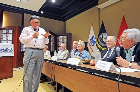 Tony Booth is the emcee for a panel discussion with World War II veterans at the Virginia War Memorial. He has done other presentations at the venue on radio and war.
