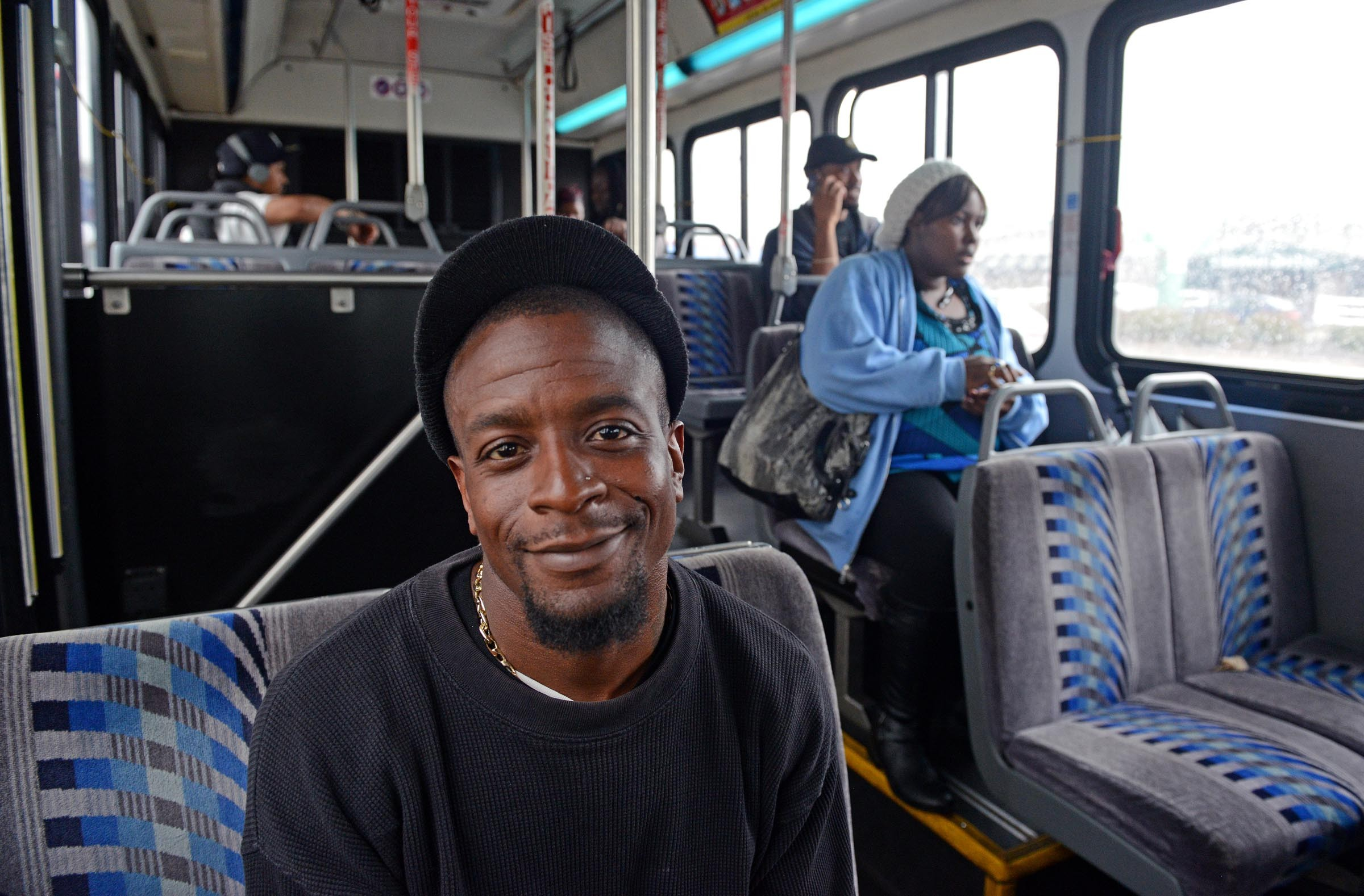 Travis Bradley rides the No. Six to get home from a construction job. He likes the idea of upgraded service, he says, but thinks that GRTC should put a higher priority on expanding service elsewhere before focusing on a route that's already well-served. - SCOTT ELMQUIST