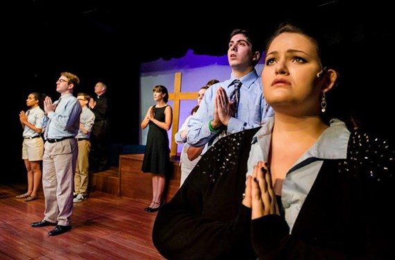 Triangle Players' latest expertly portrays the angst of high school with a fresh-faced cast featuring Kelsey Cordrey (far right) and Ian Page (front stage center). - JOHN MACLELLAN