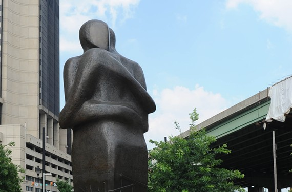 """Triangle,"" the Richmond reconciliation statue by Stephen Broadbent on East Main Street in Shockoe Bottom, marks the legal cessation in 1807 of slave importation, an industry that involved three continents. - SCOTT ELMQUIST"