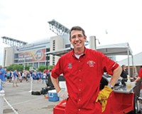 Tuffy Stone didn't catch the Rams games but was close enough to send the smoky smells of Richmond barbecue their way at Reliant Stadium in Houston earlier this month. Stone makes an appearance on a different CBS competition show next month.