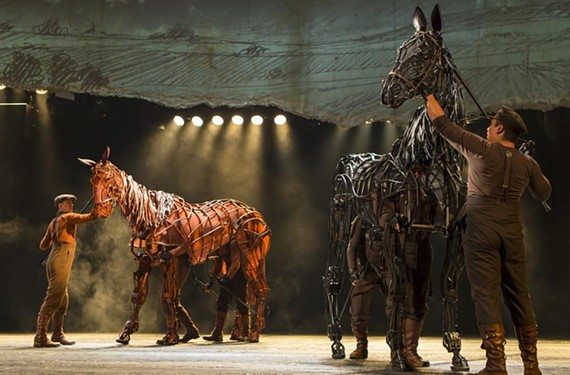 "Two life-size horse puppets, Joey and Tophorn, are the stars of ""War Horse,"" which was made into a feature film by Steven Spielberg. - BRINKHOFF/MÖGENBURG"