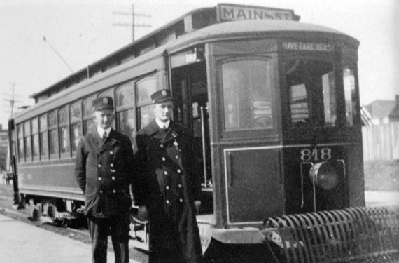 Two of Stilson's fellow operators pose with a Virginia Railway and Power Co. streetcar. While following his daily route, he photographed the comings and goings of Richmonders from all walks of life. - COPYRIGHT RICHMOND IN SIGHT
