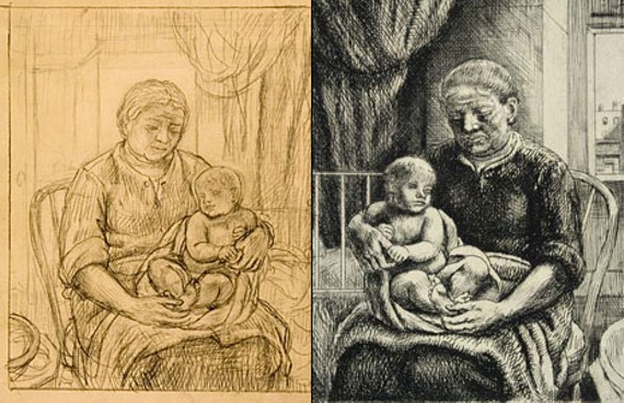 """Two versions of Kenneth Hayes Millers' """"Nurse and Child"""" (c. 1928), as featured in a new exhibit at the University of Richmond. The drawing is on the left, the etching on the right."""