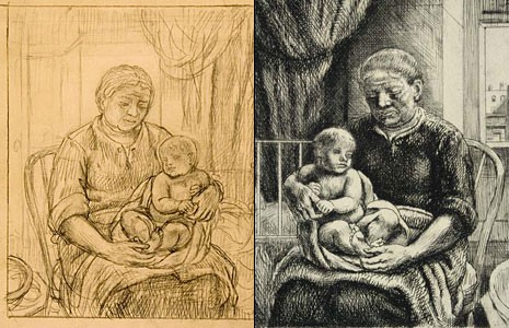 "Two versions of Kenneth Hayes Millers' ""Nurse and Child"" (c. 1928), as featured in a new exhibit at the University of Richmond. The drawing is on the left, the etching on the right."