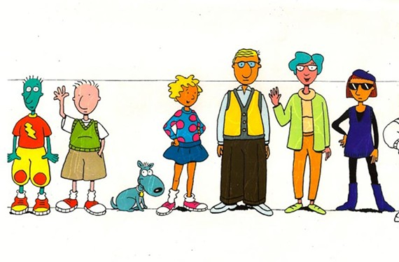 From show artist Janet Scagnelli's private collection. From left: Skeeter Valentine, Doug Funnie, Porkchop, Patti Mayonnaise, Phil Funnie, Theda Funnie and Judy Funnie. - JANET SCAGNELLI