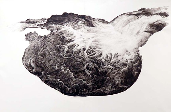 """Cold Tub Kettle Hole,"" ink on Yupo paper, 35 inches by 40 inches. - GENESIS CHAPMAN"