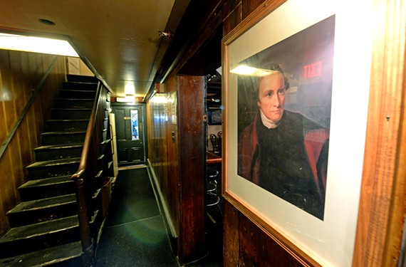 Give me death? A portrait of Hanover County's Revolutionary orator may not be the only thing gazing at guests in the Patrick Henry Pub & Grille. - SCOTT ELMQUIST