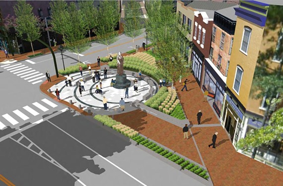The rendering of the proposed Maggie Walker plaza in Jackson Ward shows plantings that, if eliminated, would allow the historic Brook Avenue road bed to be retained and for more additional, flexible open space.