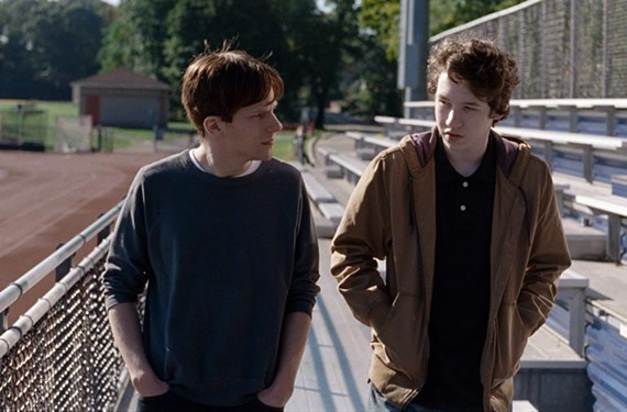 "Actor Jesse Eisenberg in a scene from ""Louder Than Bombs"" with local actor Devin Druid, at right, who will be answering questions at the festival."