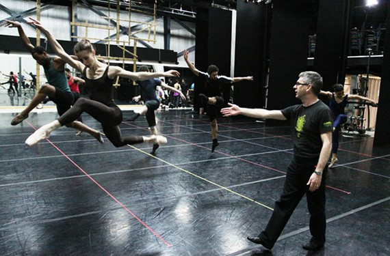 "Guest Choreographer Mark Annear (right) directs Richmond Ballet in rehearsal for his new work, ""City Life."" - SARAH FERGUSON"