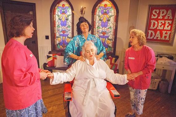 (L to R) Jennifer Clevenger as Carlene Travis, Joy Williams (in blue) as Crystal Hart, Jacqueline Jones (in chair) as Nita Mooney, Vicki McLeod as Sugar Lee Thompkins
