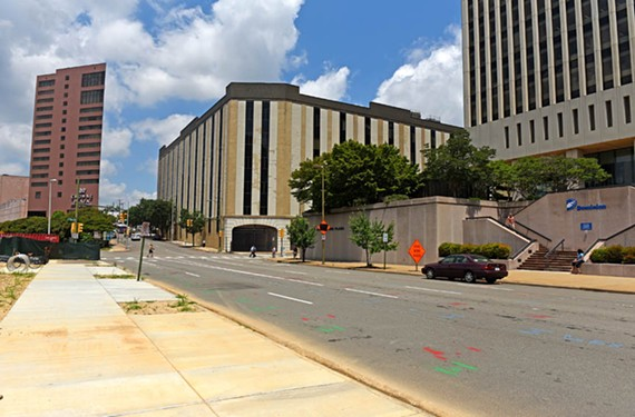 The six-story Richmond Plaza, at top, will be replaced by a Dominion Resources office park that could include two high-rises. - SCOTT ELMQUIST