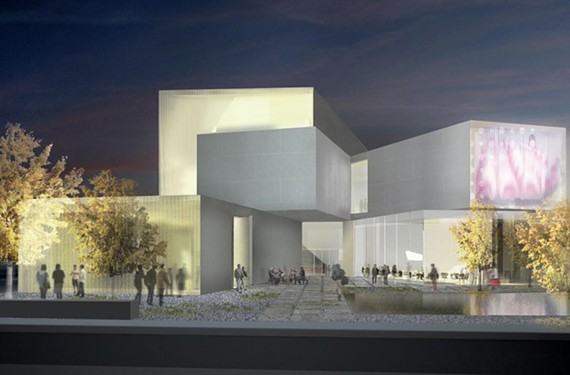A rendering from Pine Street shows the institute's entrance from the university's Monroe Park campus. - STEVEN HOLL ARCHITECTS