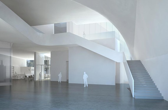 A dramatic staircase will be a feature of the forum, at the sweeping entry of the ICA. - STEVEN HOLL ARCHITECTS