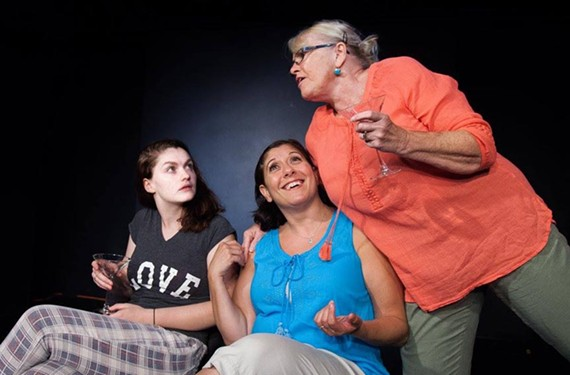 "Aiden Orr plays Avery, and Sara Heifetz as Gwen, and Linda Beringer as Alice in the rehearsals for 5th Wall Theatre's ""Rapture, Blister, Burn."" - DANNY HOLCOMB"