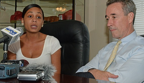In a 2015 file photo, Myrna and Joe Morrissey speak at a press conference at his law office. - SCOTT ELMQUIST