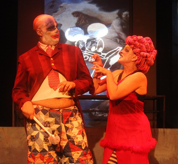 "Foster Solomon and Kimberly Jones Clark in Firehouse's ""Ubu 84"" -- a mash-up of the 19th century French play ""Ubu Roi"" with George Orwell's ""1984."" - ALFRED ORWELL"