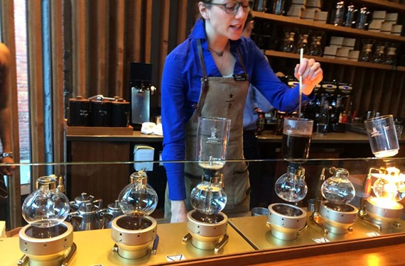 The Starbucks Reserve Roastery and Tasting Room is no ordinary coffee shop. Here, small-batch coffee roasted on the premises is sent through Hario siphon-vacuum coffeemakers from Japan to produce the perfect cup. - BRANDON FOX