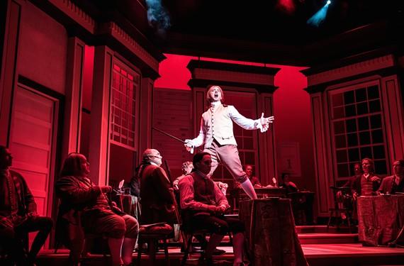 "Alexander Sapp (Edward Rutledge) and cast in ""1776, The Musical."" - AARON SUTTEN"