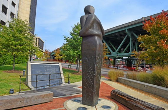 The Reconciliation Statue was unveiled in 2007 at East Main and 15th streets. - SCOTT ELMQUIST
