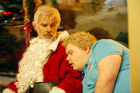 "Billy Bob Thornton reprises his role as alcoholic criminal, Willie Soke, and Brett Kelly returns as Thurman Merman, the boy who loves him, in ""Bad Santa 2."""