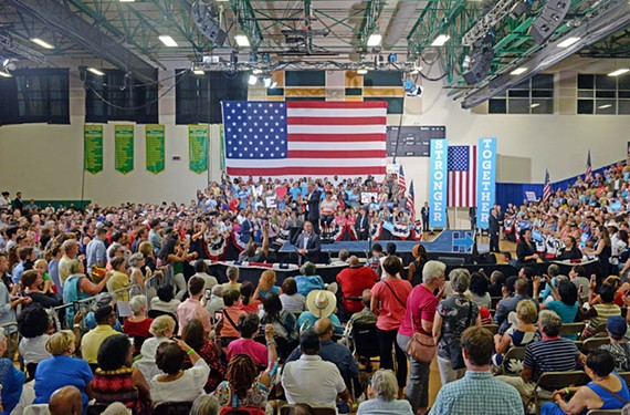 The steamy gymnasium of Huguenot High School becomes an energizing kickoff location for local supporters gathered Aug. 1, after Kaine joins the Clinton campaign. - SCOTT ELMQUIST
