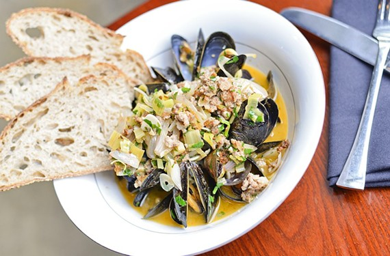 Rapp Session is all about seafood, and here, mussels and morcilla swim in a sherry broth with Sub Rosa bread to soak up the briny goodness. - ASH DANIEL