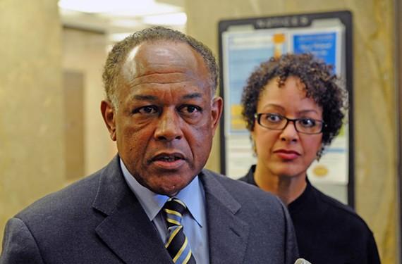 Former Mayor Dwight Jones and his press secretary, Tammy Hawley. - SCOTT ELMQUIST