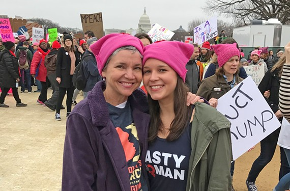 """Julie Wescott Weissend and her daughter, Mary Genevieve Weissend, of Richmond wore ubiquitous pink knit hats. """"It was amazing to have such an infusion of inspiration from my daughter and this incredible array of other helpful, creative and intentional human beings,"""" Julie says. - PAUL WEISSEND"""