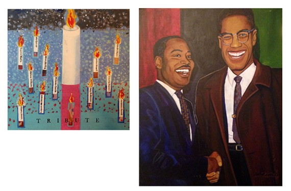 """Tribute"" by Anne Wrinn and ""Martin and Malcolm: a Meeting of the Minds"" by Jerome W. Jones Jr. are two of the works included in a Black Lives Matter-focused art exhibit at Byrd Park's First Unitarian Universalist Church."
