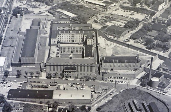 Now demolished, the Virginia State Penitentiary can be seen from above in this 1971 photo.. Its former grounds include land and buildings at South Second and Spring streets in Richmond. - DALE M. BRUMFIELD