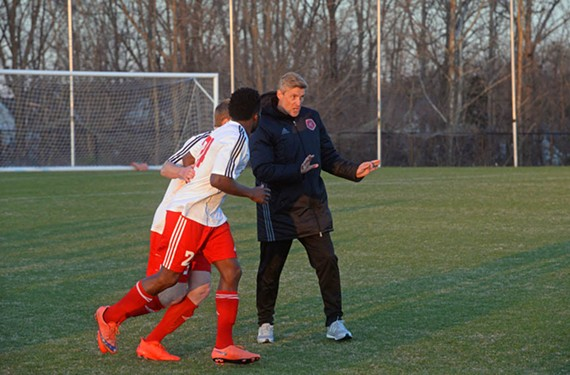 Coach Leigh Cowlishaw played for the University of Richmond, and then for the early Richmond Kickers teams. He's been the coach since 2000. - SCOTT ELMQUIST