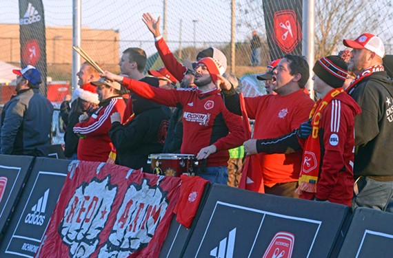 The Kickers' rowdy fan group, the Red Army, cheers and jeers at a pre-season scrimmage at Ukrop Park. At City Stadium its members sit in Section O and can be heard chanting and drumming throughout games. The occasional smoke bomb is set off. - SCOTT ELMQUIST