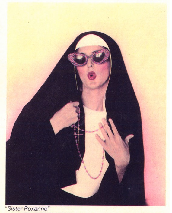 """""""Sister Roxanne."""" Johnson's mass produced cards were Pop Art with a mission. He thought eccentricity would bring new life to Reagan-era America."""