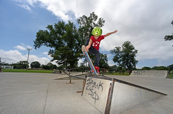 Aiden Veliz, age 8, performs an ollie at Carter Jones Skate Park. Mayor Levar Stoney wants outdoor youth recreation to be a priority for Richmond. - SCOTT ELMQUIST