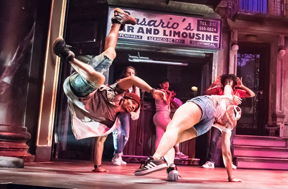 "Roberto Whitaker and LaWanda S. Raines and ensemble breakdance in Lin-Manuel Miranda's first musical, ""In the Heights,"" as staged by Virginia Rep. - AARON SUTTEN"