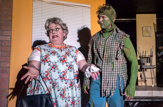 "Debra Wagoner as Ma Ferd and Alexander Sapp is the Toxic Avenger, or Melvin Ferd the Third, in ""The Toxic Avenger."" - JOHN MACLELLAN"
